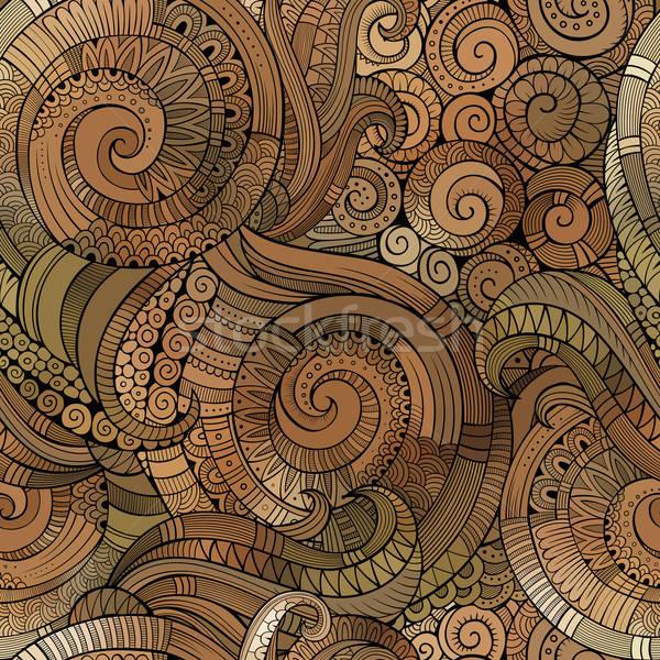 Vector spiral decorative doodles seamless pattern Stock photo © balabolka