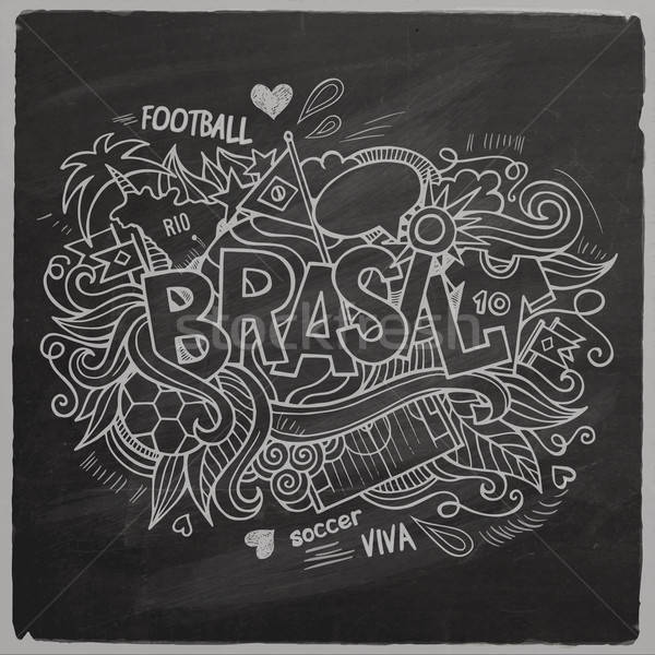 Brazil 2014 On Chalkboard Stock photo © balabolka