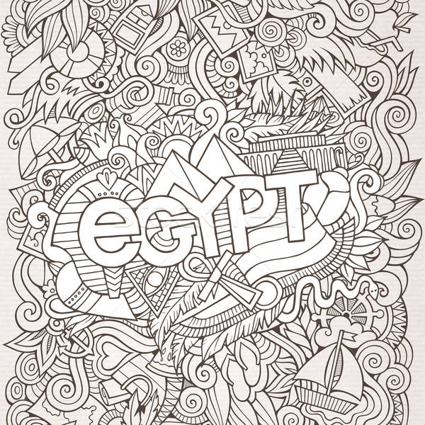 Egypt hand lettering and doodles elements background Stock photo © balabolka