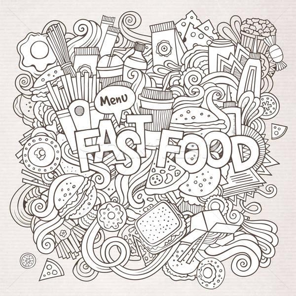 Fast food hand communie voedsel koffie Stockfoto © balabolka