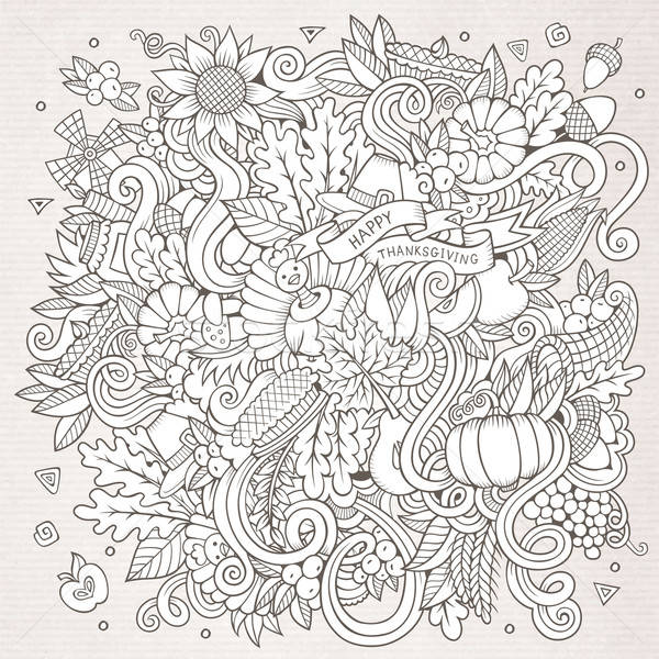 Stock photo: Cartoon vector hand-drawn Doodle Thanksgiving. Sketchy design