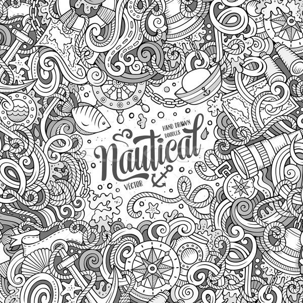 Cartoon vecteur nautique doodle cadre cute Photo stock © balabolka