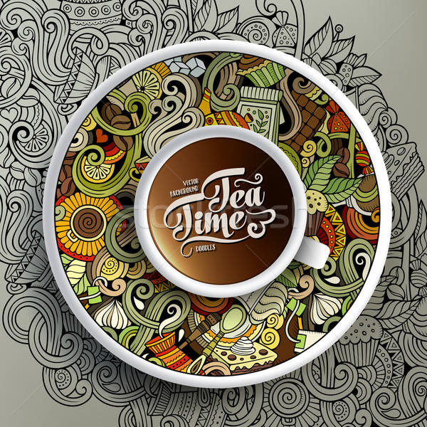 Cup of coffee and Cafe doodles Stock photo © balabolka