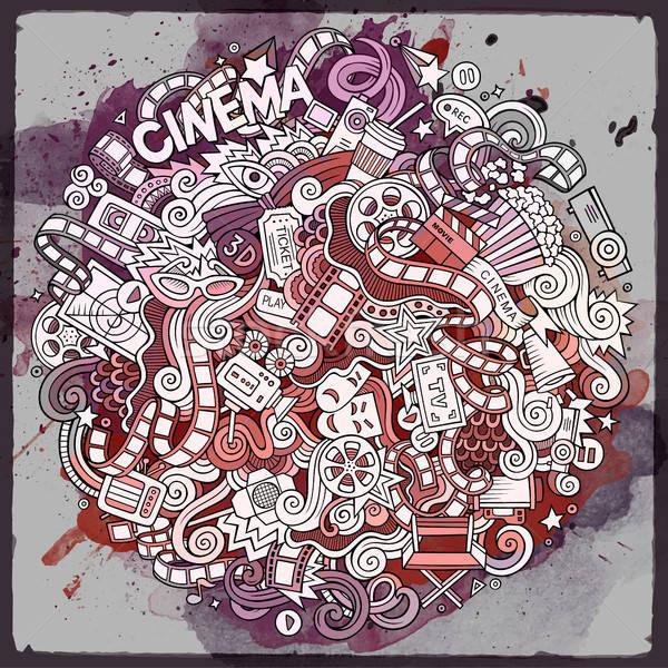 Cartoon doodles cinema frame design Stock photo © balabolka