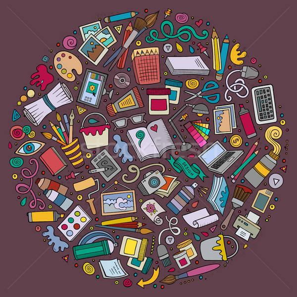 набор дизайнера Cartoon болван объекты Сток-фото © balabolka
