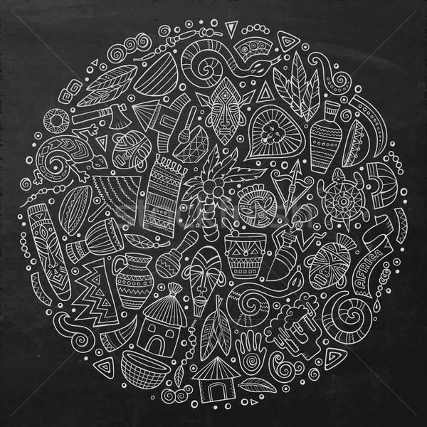 Set of Africa cartoon doodle objects Stock photo © balabolka