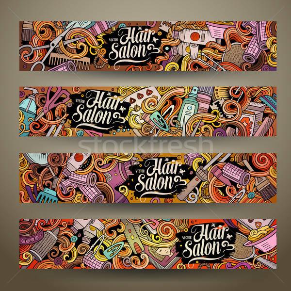 Karikatür vektör karalamalar kuaför afişler sevimli Stok fotoğraf © balabolka