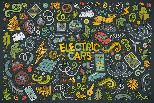 Colorful vector doodle cartoon set of Electric cars objects Stock photo © balabolka