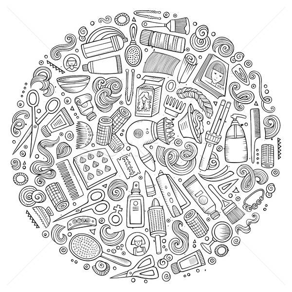 Vettore set parrucchiere cartoon doodle oggetti Foto d'archivio © balabolka