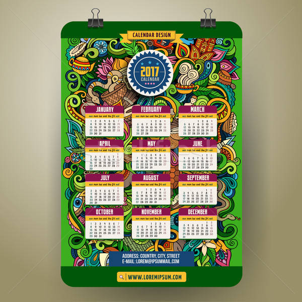 Cartoon jaar kalender kleurrijk Stockfoto © balabolka