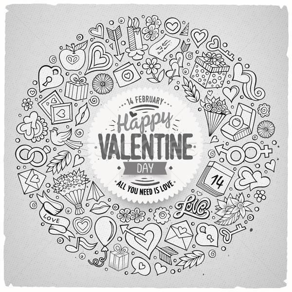 Vetor conjunto amor desenho animado rabisco objetos Foto stock © balabolka