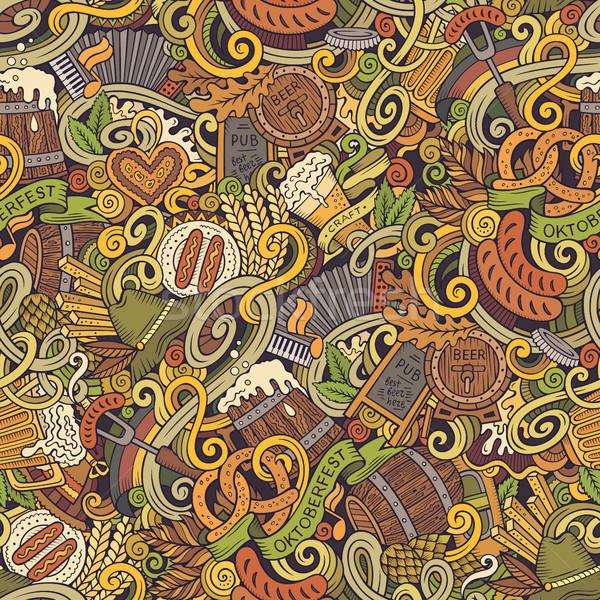 Stock fotó: Rajz · aranyos · firkák · kézzel · rajzolt · végtelen · minta · színes
