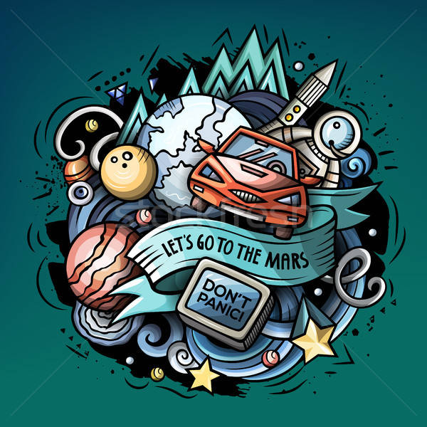 Cartoon vector doodles Space trendy illustration Stock photo © balabolka