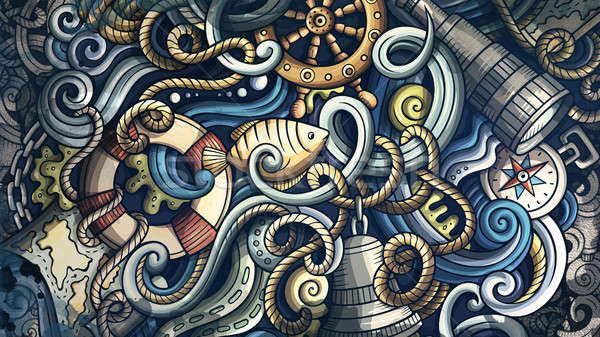 Doodles Nautical illustration. Creative marine background Stock photo © balabolka