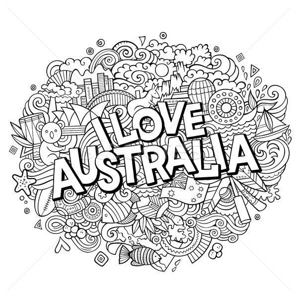 Rajz aranyos firkák kézzel rajzolt szeretet Ausztrália Stock fotó © balabolka