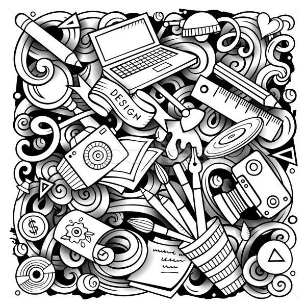 Cartoon vector doodles Design illustration Stock photo © balabolka