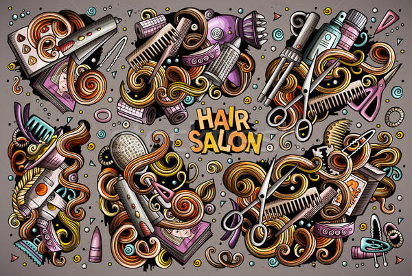 Vector set of Hair salon cartoon doodle objects Stock photo © balabolka