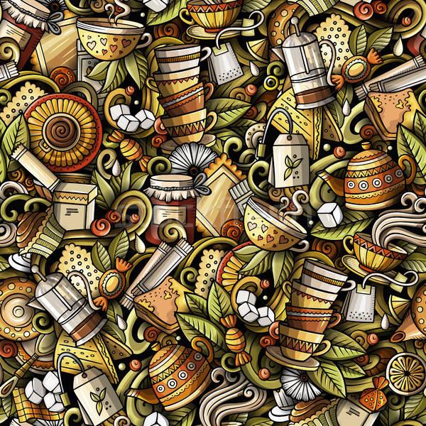 Cartoon cute scarabocchi tè casa Foto d'archivio © balabolka