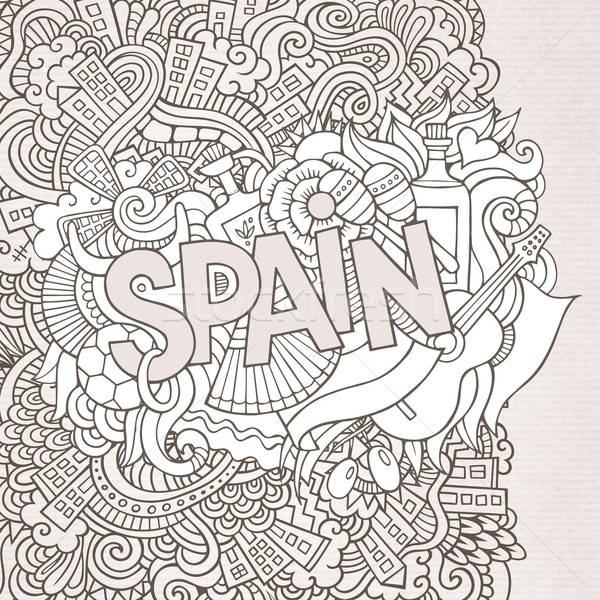 Hiszpania strony bazgroły elementy streszczenie kwiat Zdjęcia stock © balabolka