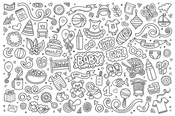Sketchy vector hand drawn Doodle cartoon set of objects  Stock photo © balabolka