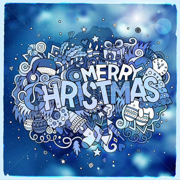Merry Christmas hand lettering and doodles elements vector Stock photo © balabolka