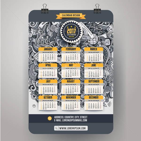 Karikatur sozialen Kritzeleien Jahr Kalender farbenreich Stock foto © balabolka