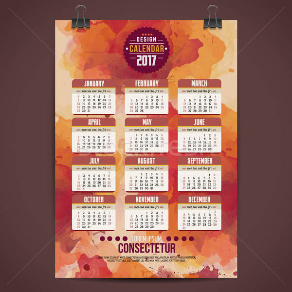 Cartoon dessinés à la main année calendrier couleur pour aquarelle Photo stock © balabolka