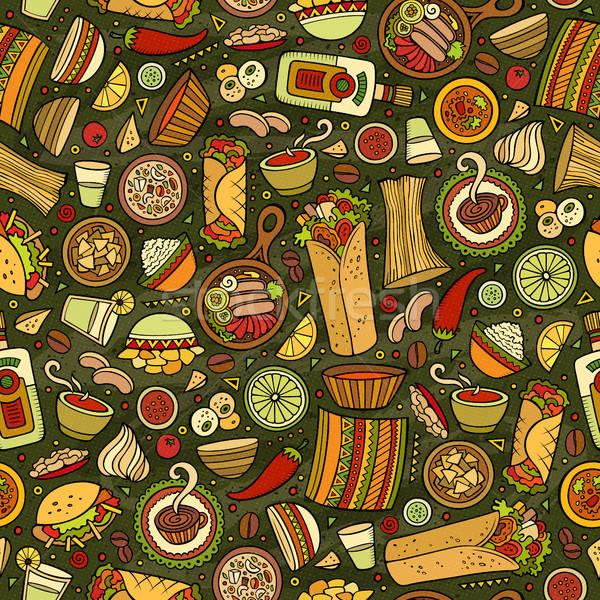 Cartoon cute meksykańskie jedzenie kolorowy Zdjęcia stock © balabolka