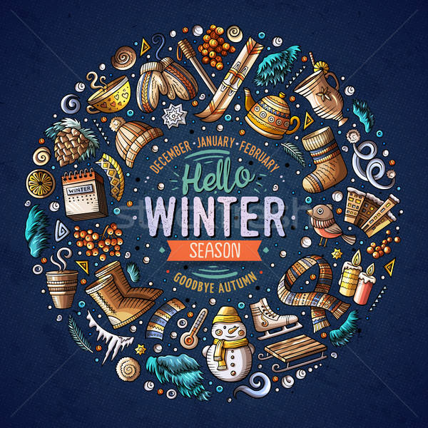 Stock photo: Set of Winter cartoon doodle objects, symbols and items