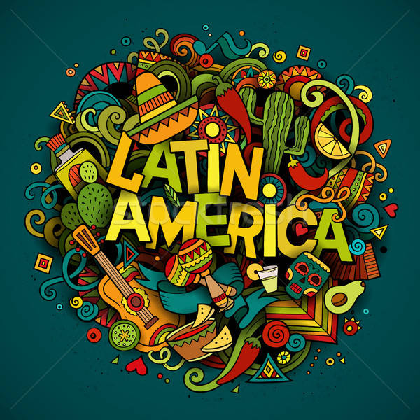 Ameryka Łacińska cartoon wektora gryzmolić ilustracja Zdjęcia stock © balabolka