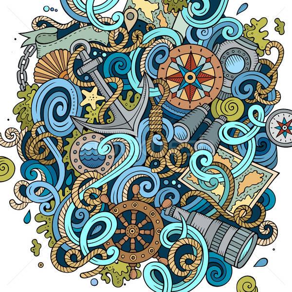 Rajz aranyos firkák kézzel rajzolt tengerészeti illusztráció Stock fotó © balabolka