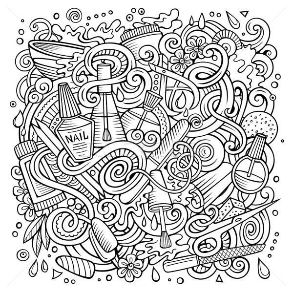 Cartoon doodles Nail salon illustration Stock photo © balabolka
