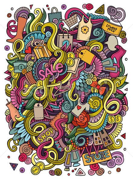 Rajz aranyos firkák kézzel rajzolt vásárlás illusztráció Stock fotó © balabolka
