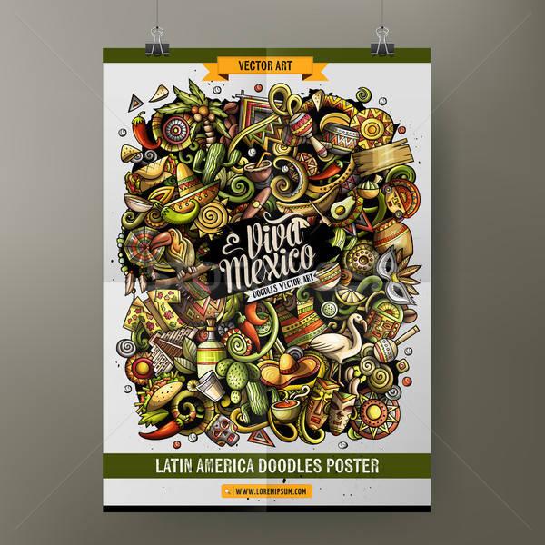 Desenho animado vetor américa latina cartaz Foto stock © balabolka