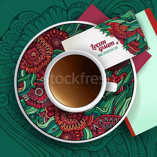 Vector taza café dibujado a mano floral Foto stock © balabolka