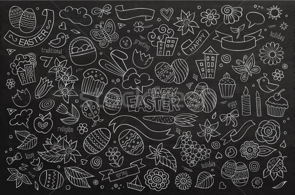 Páscoa vetor símbolos objetos primavera Foto stock © balabolka