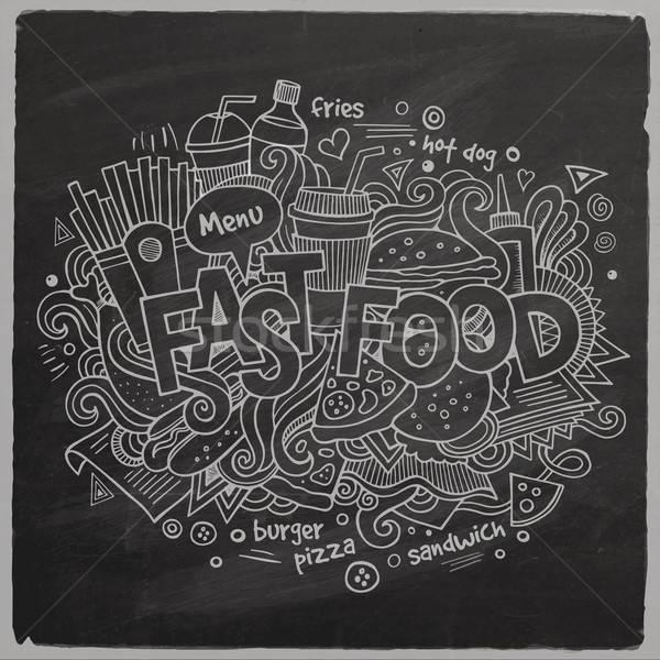 Fast food hand communie schoolbord Maakt een reservekopie Stockfoto © balabolka