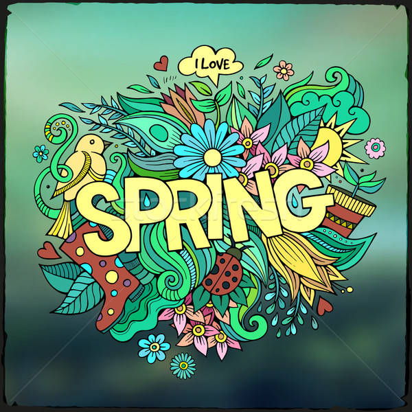 Spring hand lettering and doodles elements Stock photo © balabolka