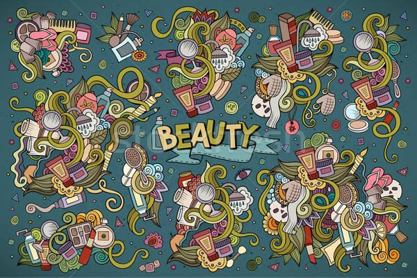 Colorful vector hand drawn doodle cartoon set of objects  Stock photo © balabolka