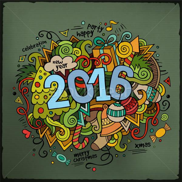 2016 ano novo mão elementos vetor Foto stock © balabolka