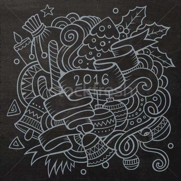 2016 yılbaşı karalamalar elemanları vektör kara tahta Stok fotoğraf © balabolka