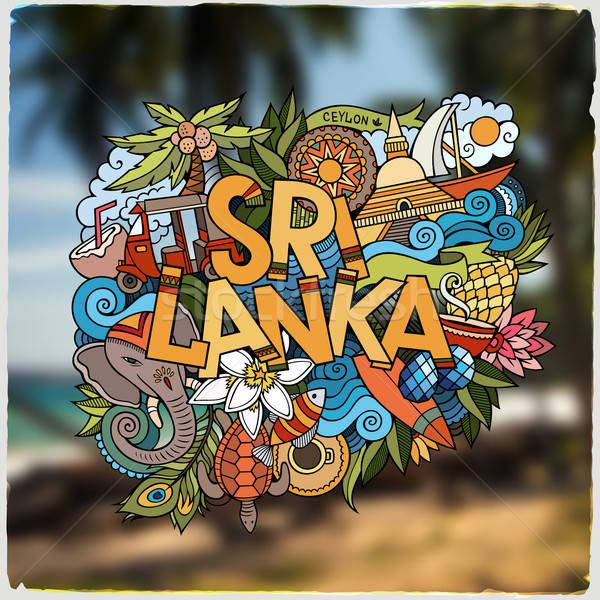 Sri Lanka mano scarabocchi elementi simboli emblema Foto d'archivio © balabolka