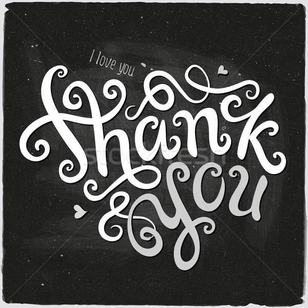 Obrigado mão feito à mão caligrafia quadro-negro vetor Foto stock © balabolka