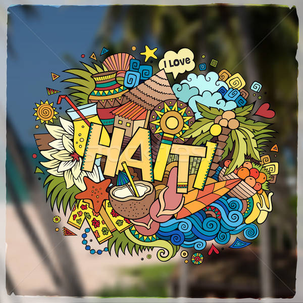 Haiti hand lettering and doodles elements emblem Stock photo © balabolka