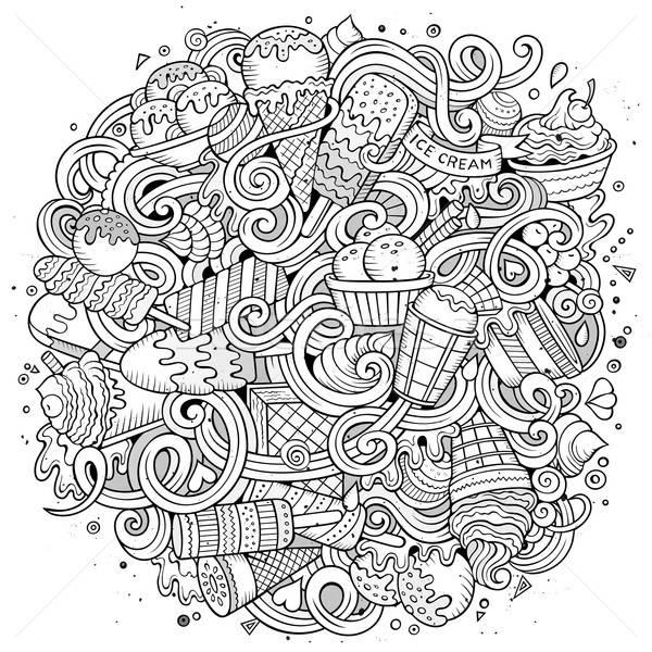 Cartoon hand-drawn doodles Ice Cream illustration Stock photo © balabolka