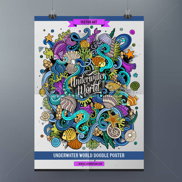 Cartoon красочный подводного Мир плакат Сток-фото © balabolka