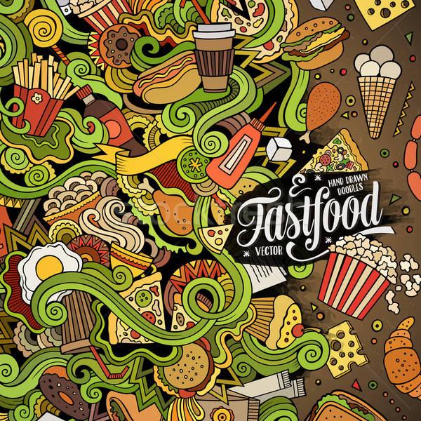 漫畫 塗鴉 快餐 幀 設計 可愛 商業照片 © balabolka