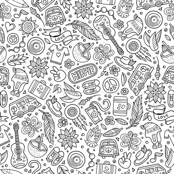 Cartoon hippie seamless pattern Stock photo © balabolka