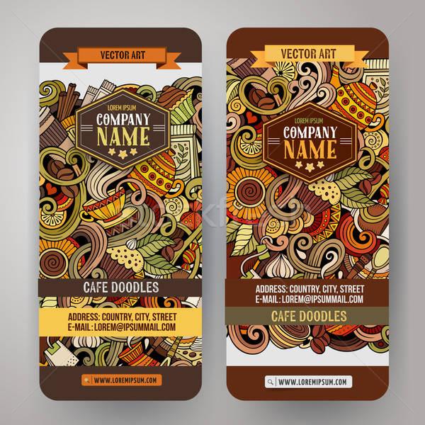 Rajz firkák kávézó bannerek színes vektor Stock fotó © balabolka