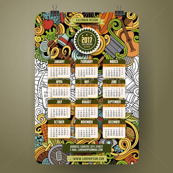 Cartoon пикника календаря красочный рисованной Сток-фото © balabolka
